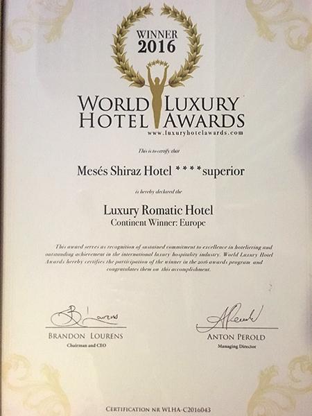 Shiraz Hotel - WORLD LUXURY HOTEL AWARDS